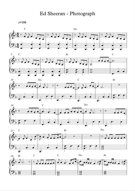 Free Piano Sheet Music Ed Sheeran Photographpdf Loving
