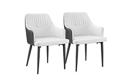 129 Set Of 2 Dining Chairs Faux Leather Kitchen Chairs With Arm