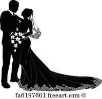 Bride And Groom Silhouette - Art Print