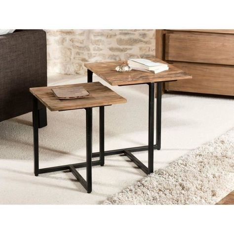 Table Gigogne Style Industriel En Bois Teck Pieds En Metal L