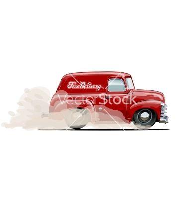 Cartoon Retro Delivery Van Vector Presentation Design Template