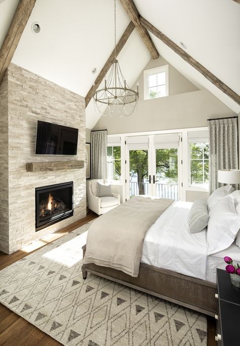 Cottage Master Bedroom with Candelabra Chandelier - Germaine Brislane Vaulted Ceiling Bedroom, Vaulted Ceiling Lighting, Chandelier Bedroom, Vaulted Ceiling With Beams, Wooden Beams Ceiling, Vaulted Ceilings, Exposed Beams, Dream Bedroom, Home Bedroom