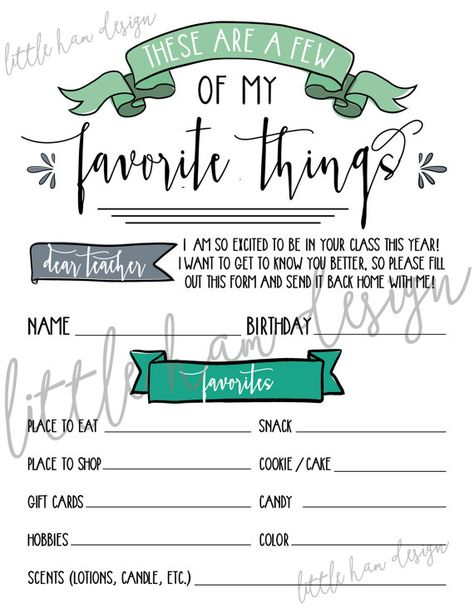Printable Teacheru0027s Favorite Things, Few of My Favorite Things - gift letter