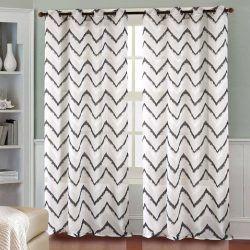 paire de voilages zigzag blanc noir 2 dimensions 140x240 voilage rideau voilage blanc rideaux