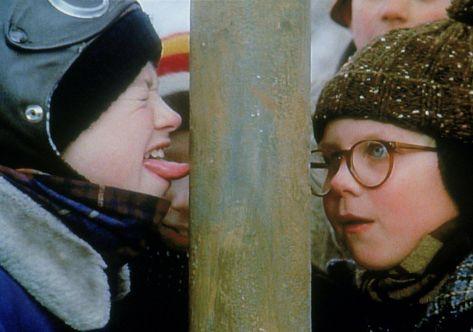 Flick Autographed Photo - Pole Scene | A Christmas Story Movie | Scott Schwartz - Flick and Ralphie - Pole Scene