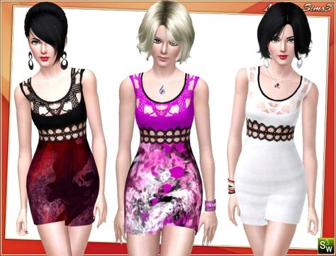 Knit art embroidered dress by Lore at Lorandia Sims 3