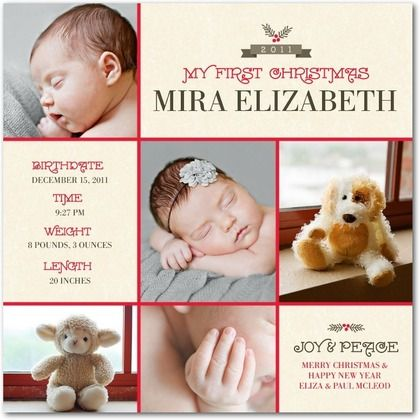 Christmas Birth Announcement Newborn Christmas Card Template – Birth Announcement Ideas