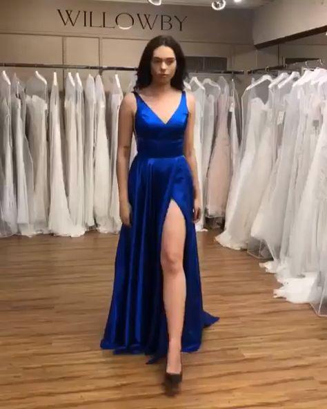 simple v neck royal blue prom dress, long prom dress 2019, prom dress with side slit