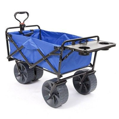 Mac Sports Collapsible Heavy Duty All Terrain Beach Utility Wagon With Table In 2020 Utility Wagon Beach Wagon Beach Cart