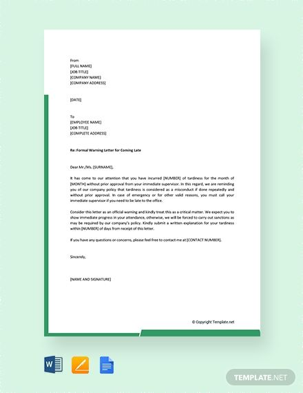 Explore Our Example Of Final Warning Letter For Lateness For Free Letter Templates Free Letter Templates Lettering