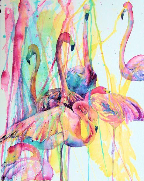 www.jenartwork.com or amazon seach jen callahan  Flamingo painting ART, Tropical Flamingos Art Poster Print Wall Decor by Jen Callahan Award winning Artist