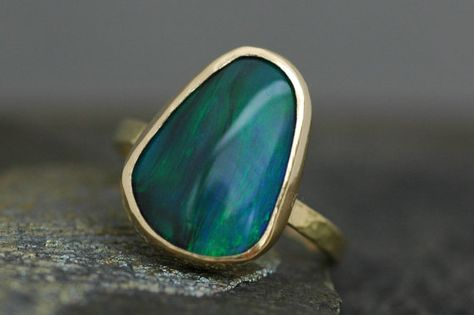 Black Opal in Recycled Yellow Gold Ring Made to by Specimental on Etsy.