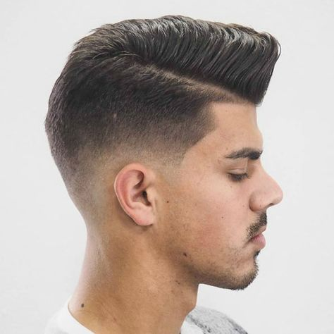 Comb Over Pomp with Low Fade and Edge Up