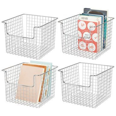 Metal Wire Home Storage Bin In Chrome 10 X 10 X 7 75 Cubby Storage Cube Furniture Wire Storage