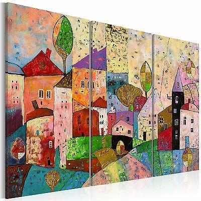 Abstrakt Hauser Stadt Wandbilder Xxl Bilder Vlies Leinwand D A 0053 B A Ebay Leinwand Wandbild Abstrakt Blaue Kunst