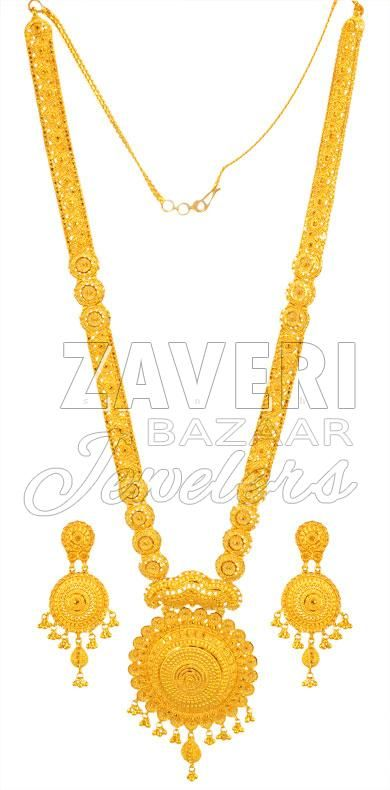 22k Long Necklace Set Gold Fashion Necklace Gold Necklace Designs Necklace Set Indian