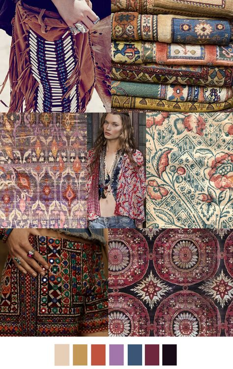 Global/ethnic story - some glorious patterns in what looks to be natural vegetable dyes - they could all be clothes for all I know, but more fun and versatile to think they& scarves.