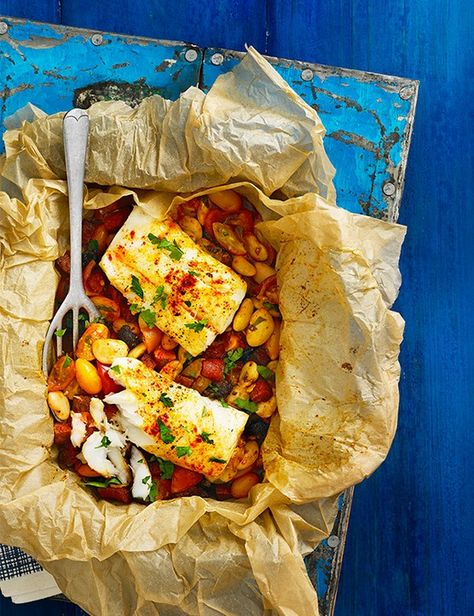 This recipe for cod, cherry tomato and green olive tray roast is so quick and easy to prepare but looks impressive when you pull it out of the oven. Serve with a big bowl of buttered orzo