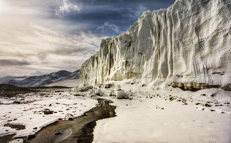 Walking along the glacier face - photo from #treyratcliff Trey Ratcliff at http://www.StuckInCustoms.com