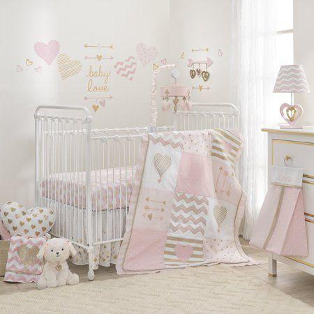 Lambs Ivy Baby Love 6 Piece Crib Bedding Set Pink Gold White Love Hearts Walmart Com Crib Bedding Girl Girl Crib Bedding Sets Baby Girl Bedding