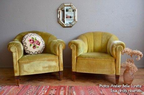 Fauteuils Edgar L Atelier Belle Lurette Renovation De Meubles Vintage En 2020 Fauteuil Art Deco Fauteuil Et Mobilier De Salon