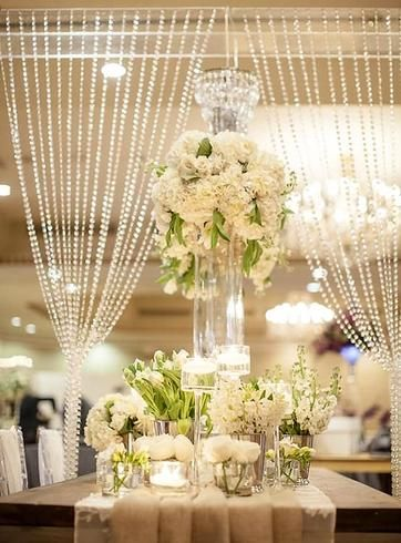 20ft X 3ft Clear Crystal Strands Curtain Backdrop Decoration