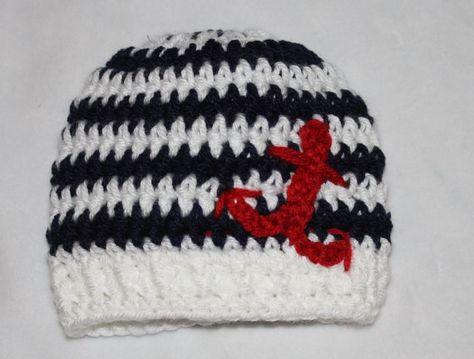 Pdf Crochet Striped Beanie with Anchor Newborn  by KraftyShack, $2.99