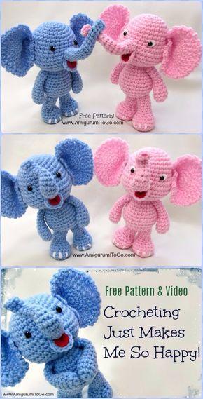 Little Bigfoot Elephant: Free Amigurumi Crochet Pattern - YouTube | 569x290