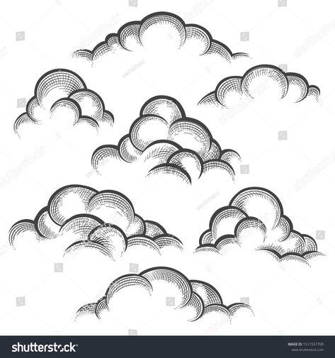 Nature line art sketched decorative cloud set vector illustration, clouds vintage sketch elements, cloudy heaven gates illustration ,