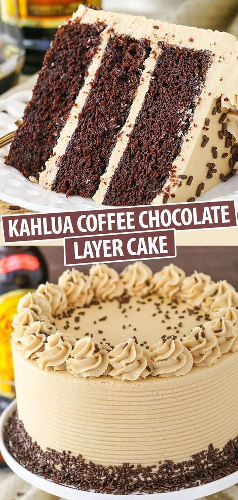 This Kahlua Coffee Chocolate Layer Cake is made with a moist chocolate Kahlua cake covered in Kahlua coffee frosting! It's seriously so good – you won't want to share! # cake recipes Life Love and Sugar - Life is Better With Cake Layer Cake Recipes, Best Cake Recipes, Sweet Recipes, Dessert Recipes, Cake Recipes From Scratch, Homemade Cake Recipes, Cheesecake Recipes, Kahlua Cake, Cake Toppers