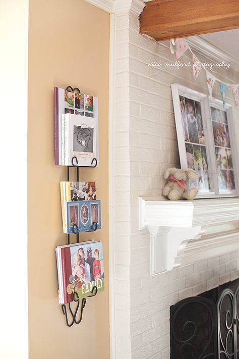What should you do with your photos? Here is a clever way to display your Shutterfly photo books. It's classy and simple. | Erica Mulford Photography