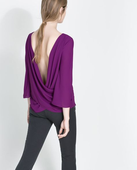 BLOUSE WITH DRAPED BACK from Zara