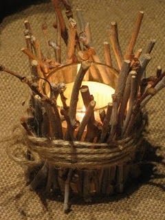 Twig votive candles for pocahontas? Camping Parties, Camping Theme, Camping Wedding Theme, Camping Gear, Cub Scouts, Girl Scouts, Eagle Scout Ceremony, Lumberjack Party, Deco Nature