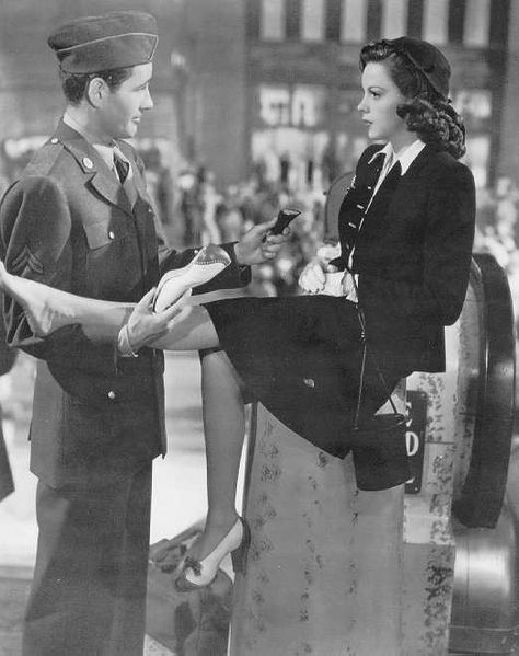 The Clock is a 1945 film starring Judy Garland and Robert Walker. One a 48-hour leave, Joe Allen (Robert Walker) meets Alice Mayberry (Judy Garland) in Pennsylvania Station when she trips over his duffel bag and breaks the heel off one of her shoes.