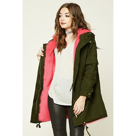 da4f89b0d Forever21 Faux Fur Hooded Parka ( 70) ❤ liked on Polyvore featuring  outerwear