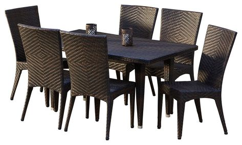 brooklyn outdoor wicker dining 7 piece set patio furniture rh pinterest ie