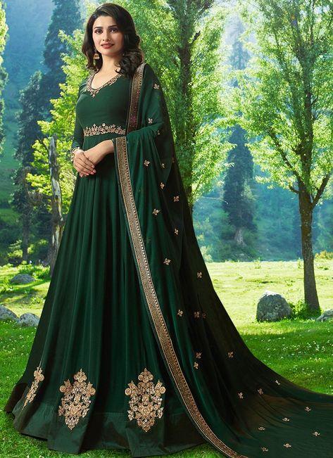 832c6e7f23 Bottle Green Prachi Desai Anarkali Dress Online