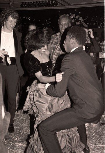 Diana Ross and Andre Leon Talley dancing at Studio 54 in New York City, New Years Eve Dec 1978