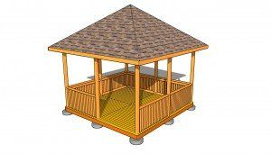 12x12 Hip Roof Gazebo Plans Myoutdoorplans Free Woodworking Plans And Projects Diy Shed Wooden Playhouse Pe In 2020 Gazebo Plans Gazebo Raised Bed Garden Design
