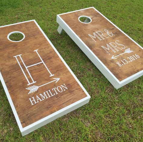 Rustic Wedding. Outdoor Wedding.  Include  lawn game bean bag toss.  Super easy to personalize your own gorgeous cornhole set with vinyl decals.  An awesome DIY project or wedding gift for the bride and groom or an awesome way for dad to make a meaningful contribution to wedding planning.