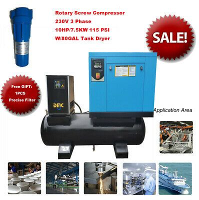 Details About 7 5kw 10hp Industrial Rotary Screw Compressor 3ph