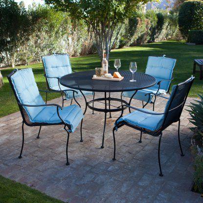 Belham Living Stanton Wrought Iron Dining Set By Woodard Seats 4 Hayneedle Outdoor Furniture Sets Patio Set Wrought Iron