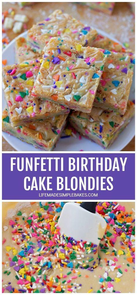 Super Funfetti Birthday Cake Blondies No Cake Mix Recipe Chocolate Funny Birthday Cards Online Fluifree Goldxyz