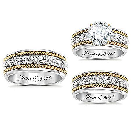 Western His Hers Personalized Diamonesk Wedding Ring Set