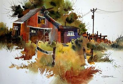 Beautiful Watercolor Paintings By American Artist Tony Couch Watercolor Landscape Watercolor Barns Landscape Art