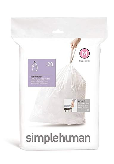 Simplehuman Trash Can Liner M 45 Liters 12 Gallons 20 Count Bags Pack Of 2 Pack Of 3 Review Simplehuman Trash Containers Garbage Can Storage