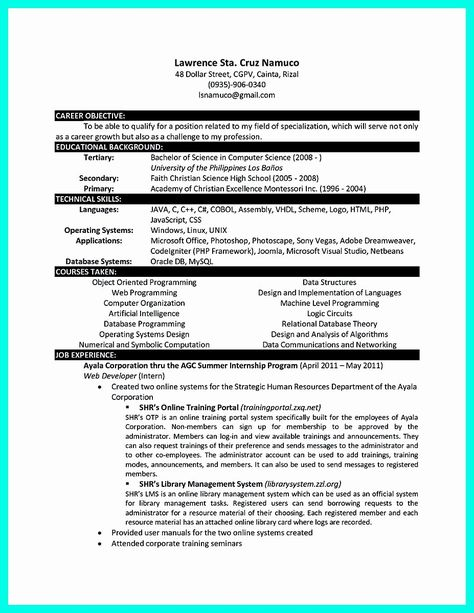 20 Computer Science Undergraduate Resume In 2020 Computer