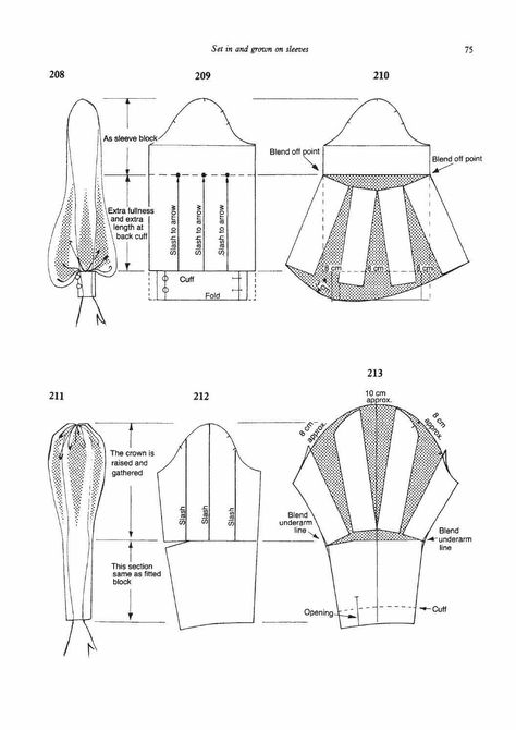 Pattern cutting and making up - Dress sewing patterns - Techniques Couture, Sewing Techniques, Skirt Patterns Sewing, Clothing Patterns, Pattern Drafting Tutorials, Pattern Sewing, Pattern Draping, Pattern Dress, Sleeve Pattern