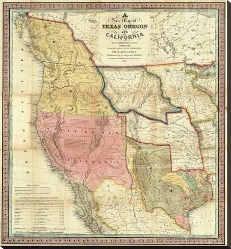 Stretched Canvas Print New Map Of Texas Oregon And California C