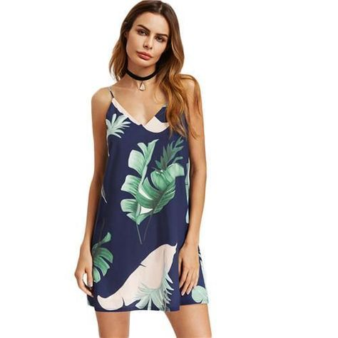 8ff63f2bff5506 SHEIN Navy Palm Leaf Print Double V Neck Cami Dress Women Beach Dress  Spaghetti  fashion  clothing  shoes  accessories  womensclothing  dresses  (ebay link)